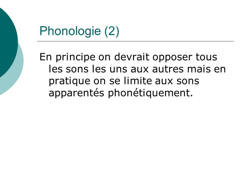Phonologie (2) En principe on devrait opposer tous les sons les uns aux autres mais en pratique on se limite aux sons apparentés phonétiquement.