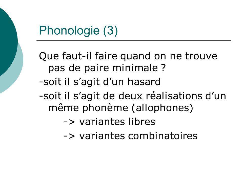 Phonologie (3) Que faut-il faire quand on ne trouve pas de paire minimale ? -soit il s'agit d'un hasard -soit il s'agit de deux réalisations d'un même