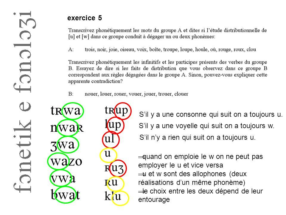 exercice 5 S'il y a une voyelle qui suit on a toujours w. S'il y a une consonne qui suit on a toujours u. S'il n'y a rien qui suit on a toujours u. 