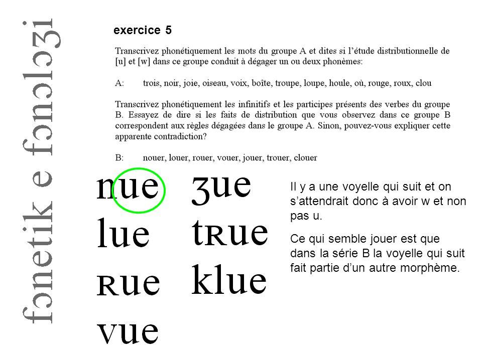 exercice 5 Il y a une voyelle qui suit et on s'attendrait donc à avoir w et non pas u. Ce qui semble jouer est que dans la série B la voyelle qui suit