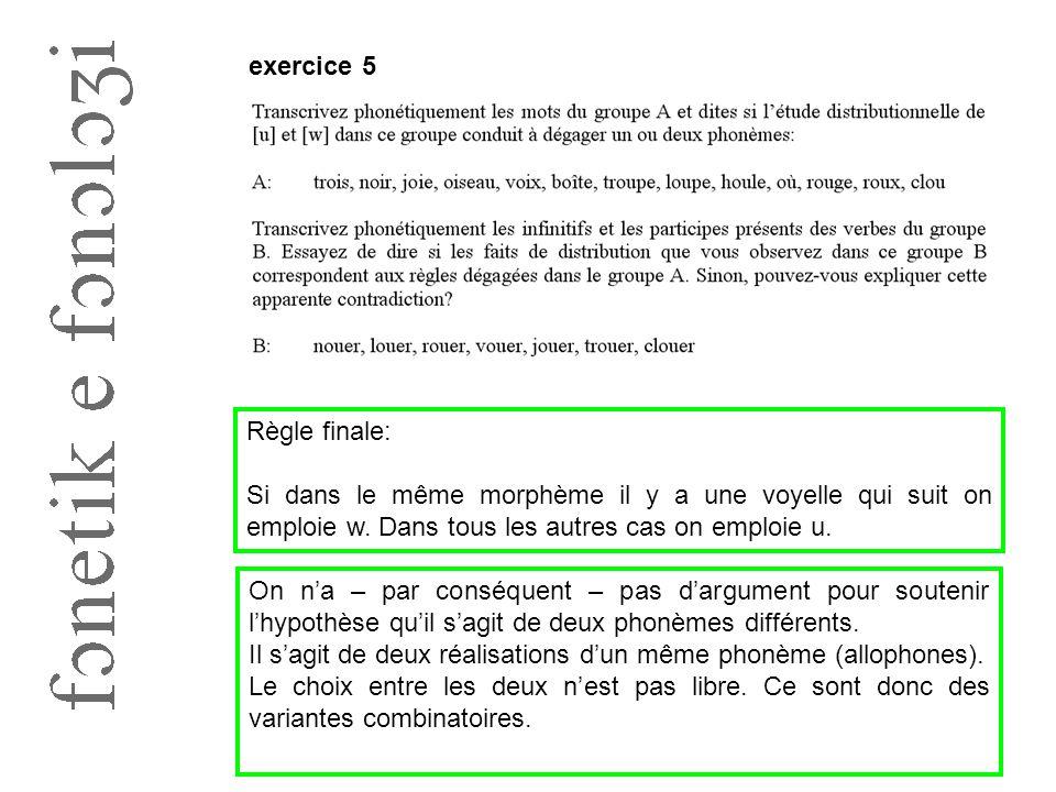 exercice 5 Règle finale: Si dans le même morphème il y a une voyelle qui suit on emploie w. Dans tous les autres cas on emploie u. On n'a – par conséq