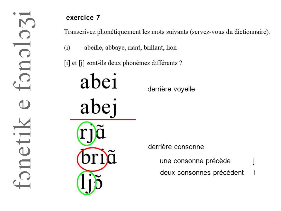 exercice 7 derrière voyelle derrière consonne une consonne précèdej deux consonnes précèdenti