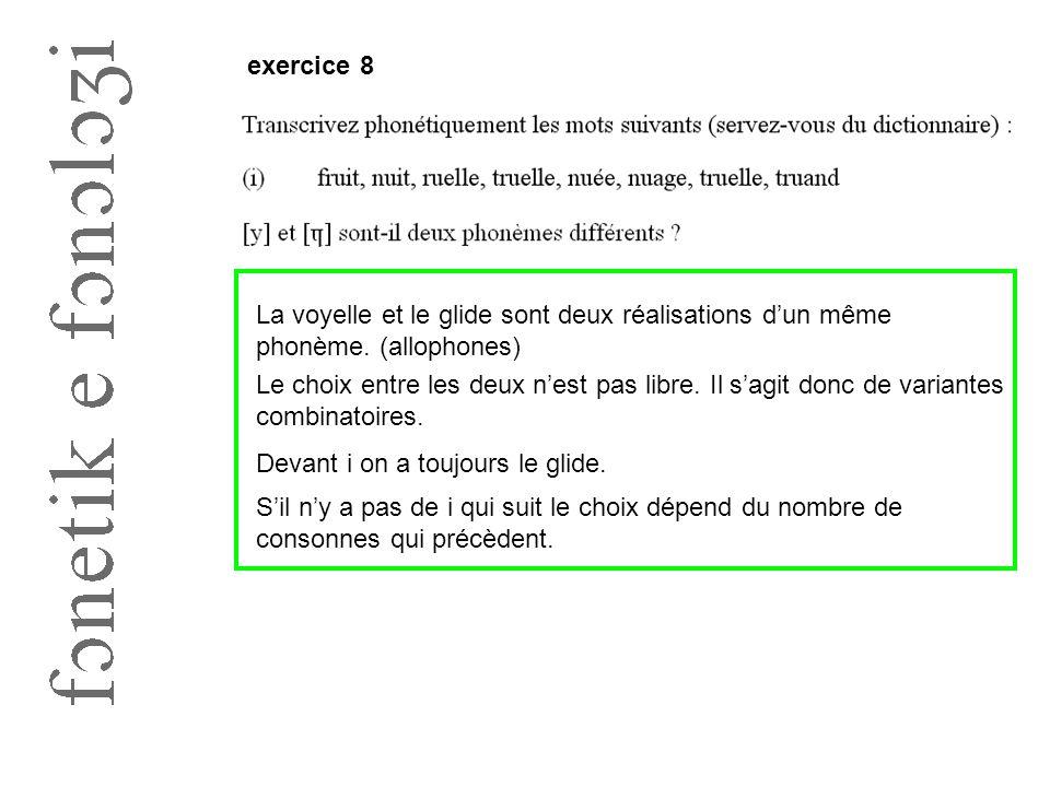 exercice 8 La voyelle et le glide sont deux réalisations d'un même phonème. (allophones) Le choix entre les deux n'est pas libre. Il s'agit donc de va