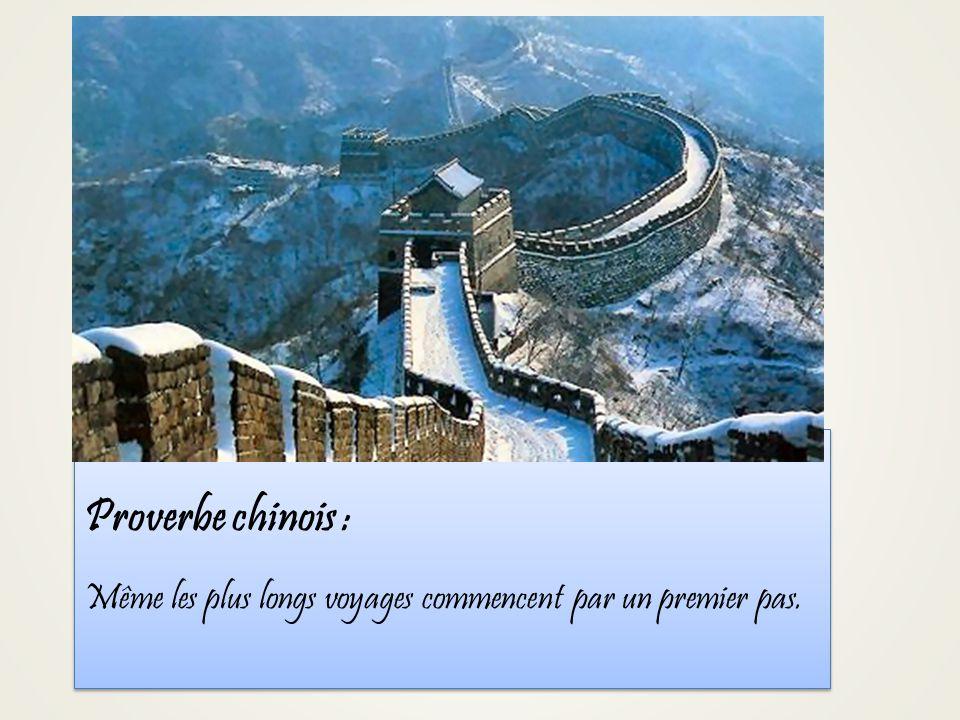 Proverbe chinois : Même les plus longs voyages commencent par un premier pas.