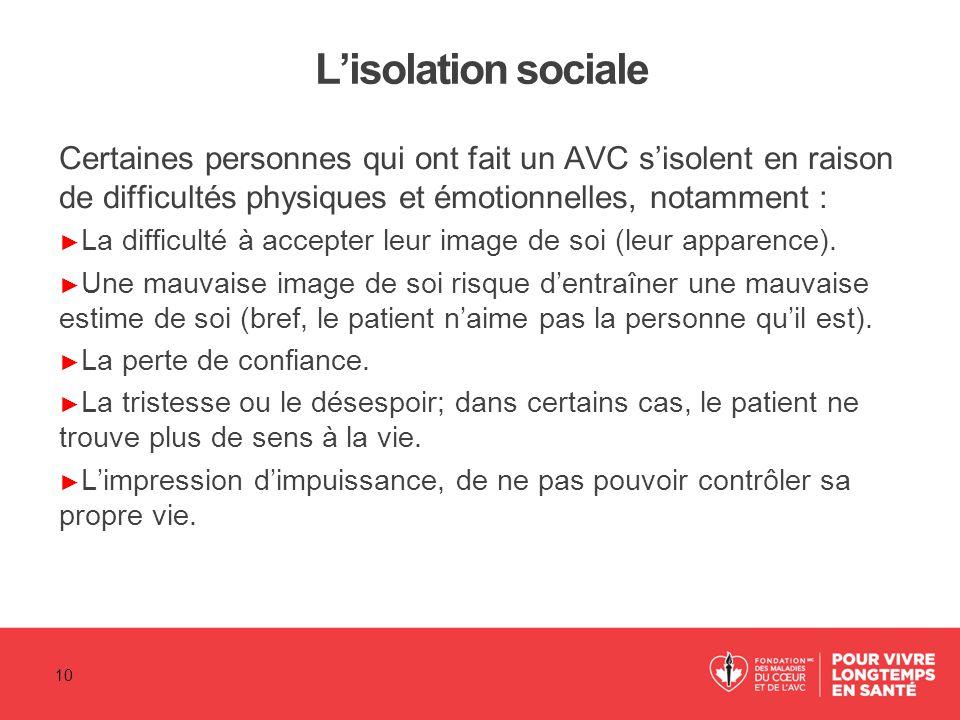 L'isolation sociale Certaines personnes qui ont fait un AVC s'isolent en raison de difficultés physiques et émotionnelles, notamment : ► La difficulté