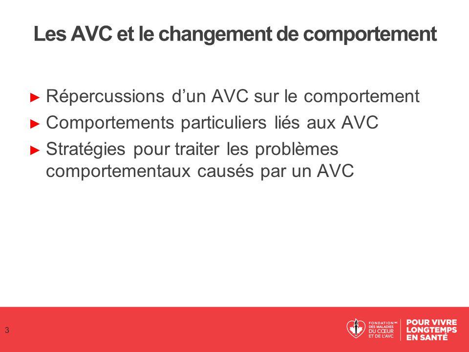 Les AVC et le changement de comportement ► Répercussions d'un AVC sur le comportement ► Comportements particuliers liés aux AVC ► Stratégies pour trai