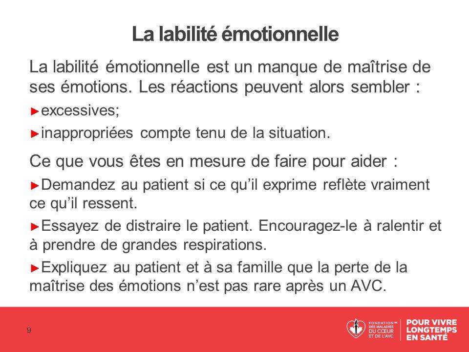 La labilité émotionnelle La labilité émotionnelle est un manque de maîtrise de ses émotions. Les réactions peuvent alors sembler : ► excessives; ► ina