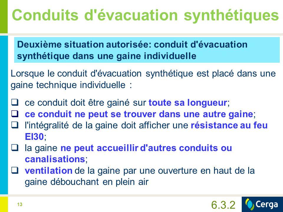 13 Conduits d'évacuation synthétiques Deuxième situation autorisée: conduit d'évacuation synthétique dans une gaine individuelle Lorsque le conduit d'