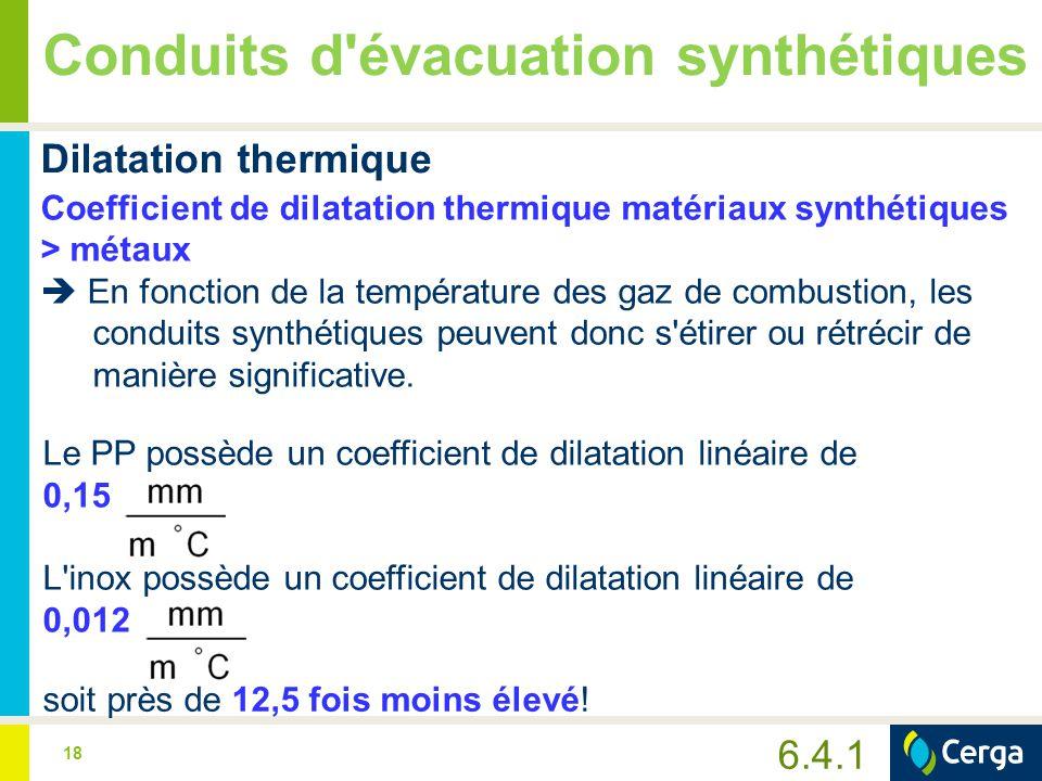 18 Conduits d'évacuation synthétiques Dilatation thermique Coefficient de dilatation thermique matériaux synthétiques > métaux  En fonction de la tem