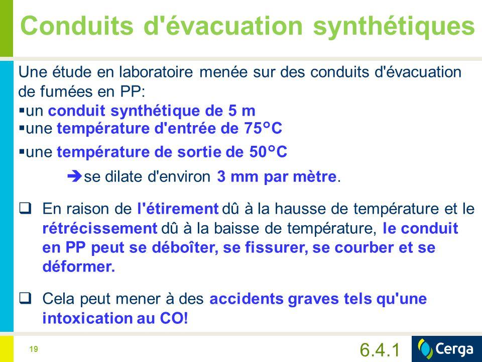 19 Conduits d'évacuation synthétiques Une étude en laboratoire menée sur des conduits d'évacuation de fumées en PP:  un conduit synthétique de 5 m 