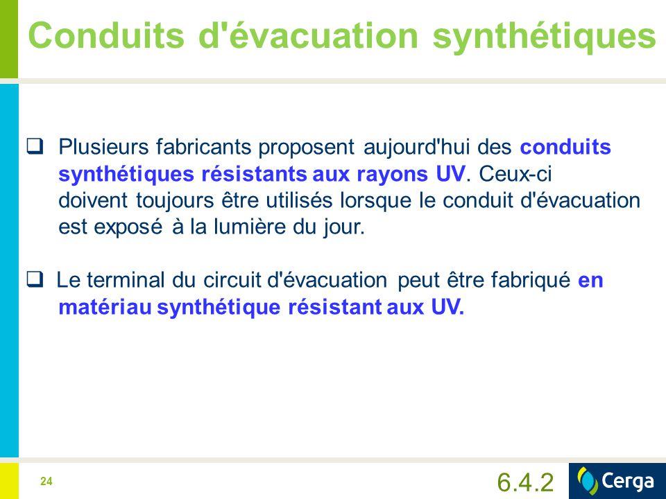 24 Conduits d'évacuation synthétiques  Plusieurs fabricants proposent aujourd'hui des conduits synthétiques résistants aux rayons UV. Ceux-ci doivent