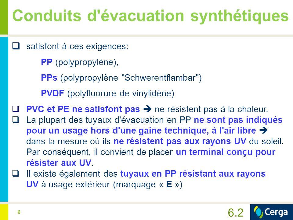 6 Conduits d'évacuation synthétiques  satisfont à ces exigences: PP (polypropylène), PPs (polypropylène