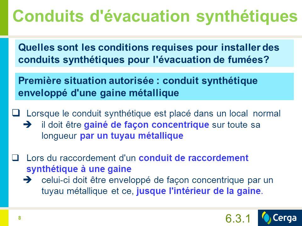 8 Conduits d'évacuation synthétiques Quelles sont les conditions requises pour installer des conduits synthétiques pour l'évacuation de fumées? Premiè