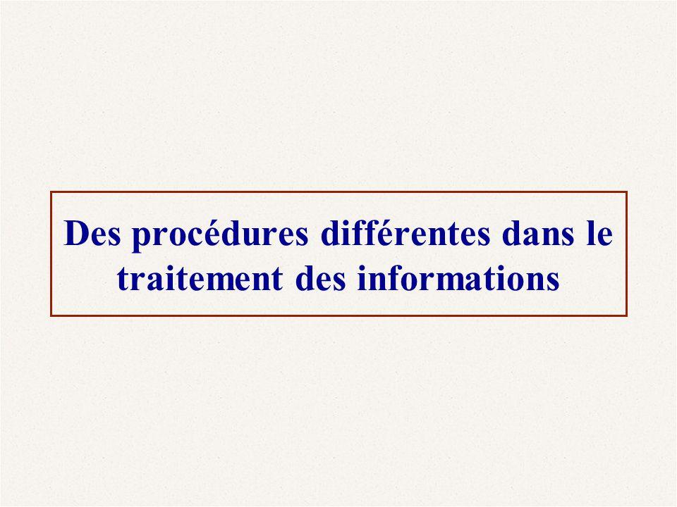 Des procédures différentes dans le traitement des informations
