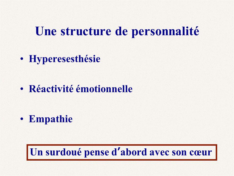 Une structure de personnalité Hyperesesthésie Réactivité émotionnelle Empathie Un surdoué pense d'abord avec son cœur