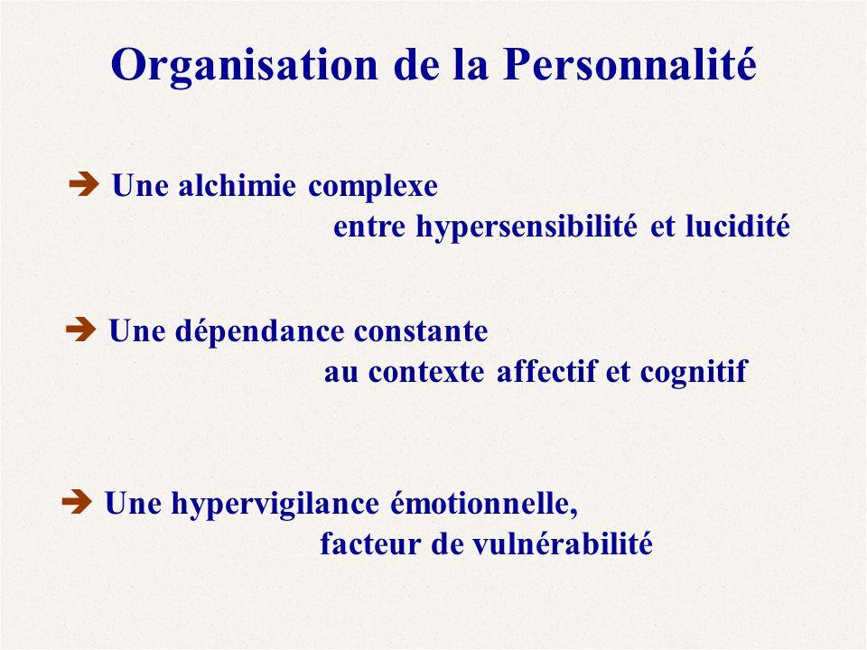 Organisation de la Personnalité  Une alchimie complexe entre hypersensibilité et lucidité  Une dépendance constante au contexte affectif et cognitif