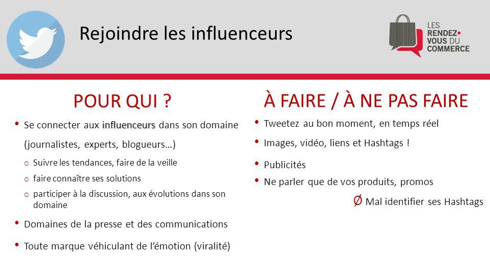 Rejoindre les influenceurs influenceurs Se connecter aux influenceurs dans son domaine (journalistes, experts, blogueurs…) o Suivre les tendances, fai