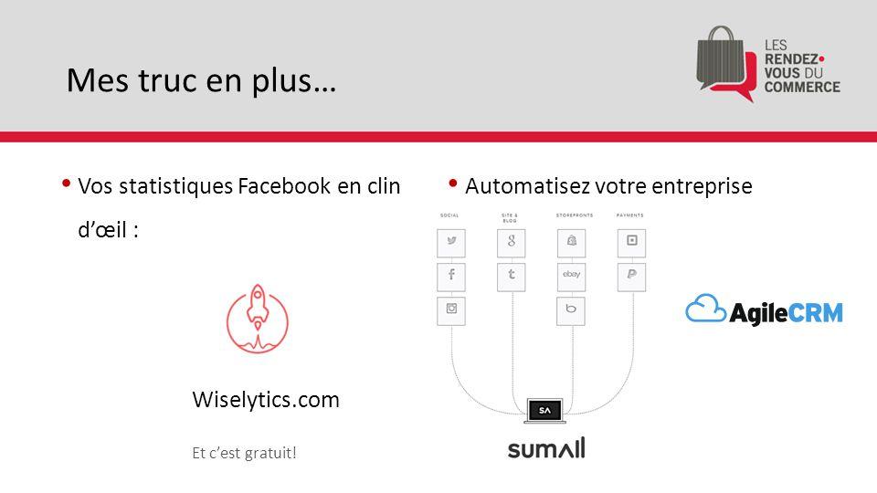 Mes truc en plus… Automatisez votre entreprise Vos statistiques Facebook en clin d'œil : Wiselytics.com Et c'est gratuit!