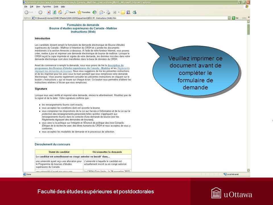Faculté des études supérieures et postdoctorales Veuillez imprimer ce document avant de compléter le formulaire de demande