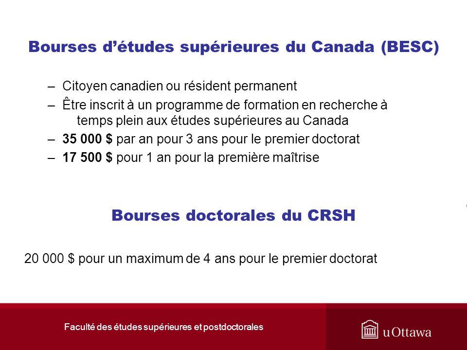 Faculté des études supérieures et postdoctorales Bourses d'études supérieures du Canada (BESC) –Citoyen canadien ou résident permanent –Être inscrit à