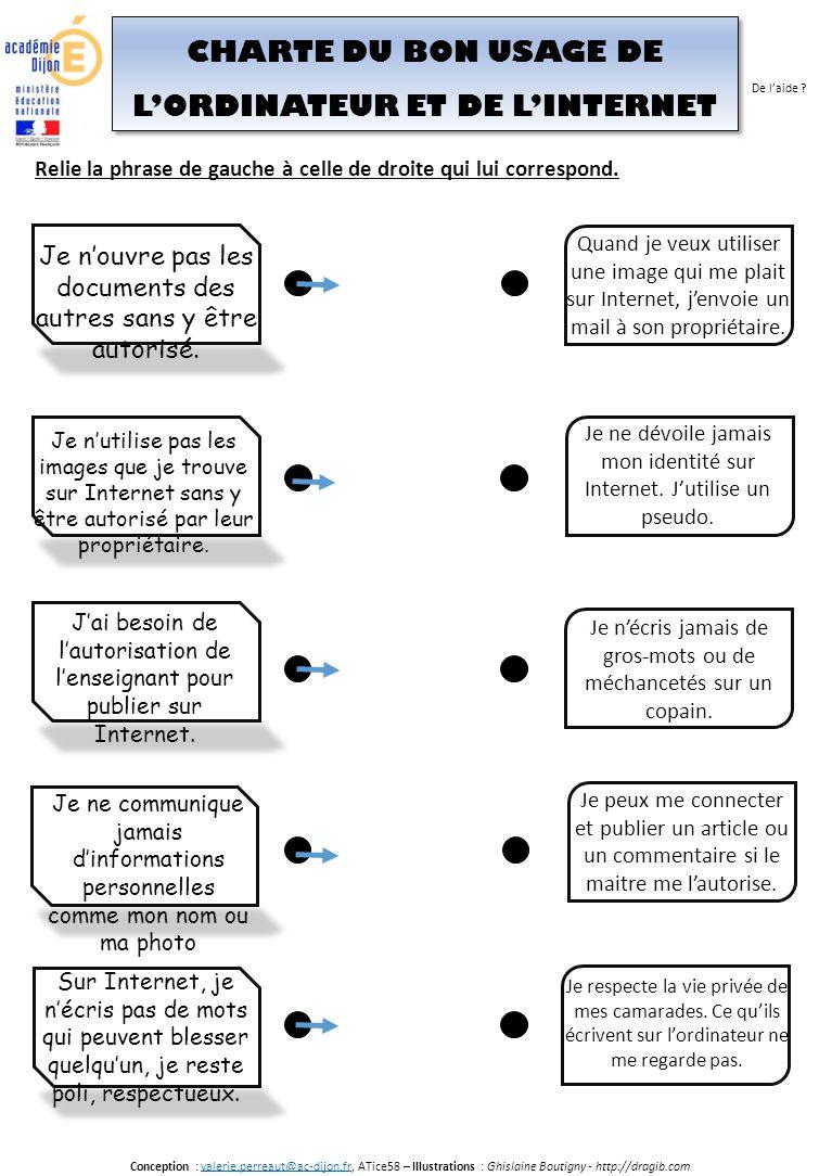 CHARTE DU BON USAGE DE L'ORDINATEUR ET DE L'INTERNET Conception : valerie.perreaut@ac-dijon.fr, ATice58 – Illustrations : Ghislaine Boutigny - http://