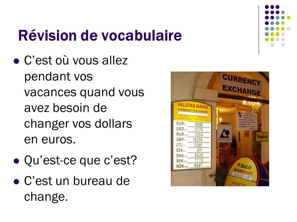 Révision de vocabulaire Ce document vérifie la nationalité du voyageur.