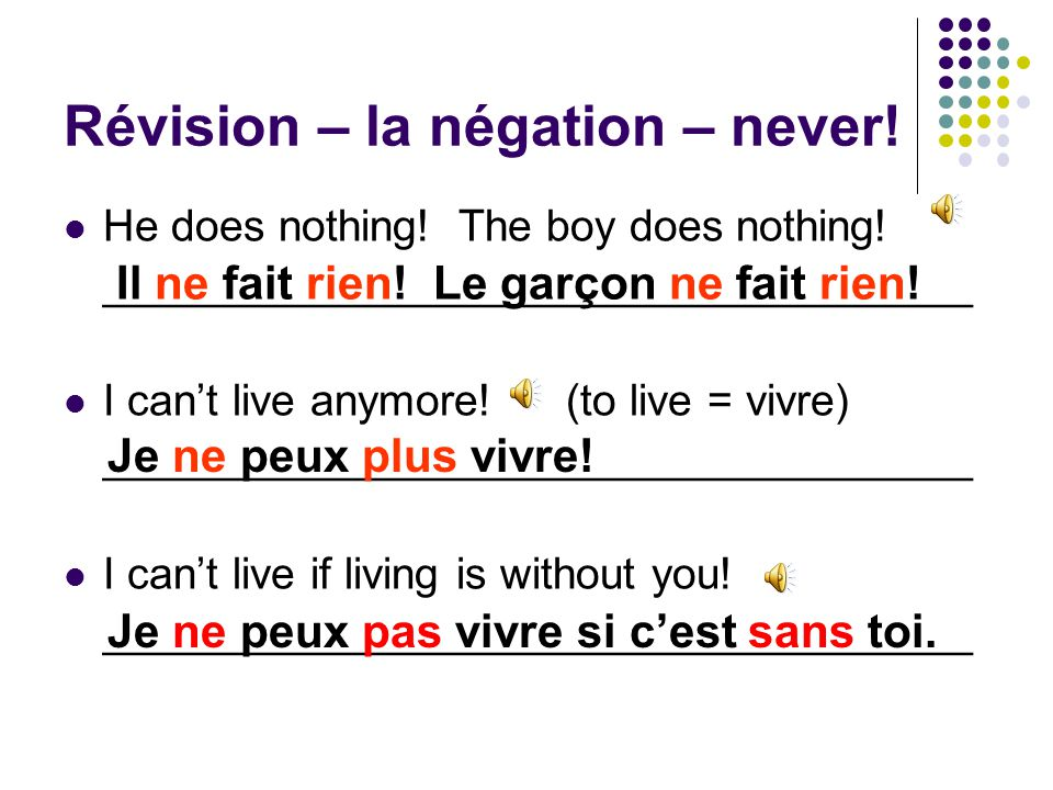 Révision – la négation – never. He never washes up.