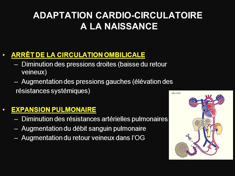 ADAPTATION CARDIO-CIRCULATOIRE A LA NAISSANCE ARRÊT DE LA CIRCULATION OMBILICALE –Diminution des pressions droites (baisse du retour veineux) –Augment