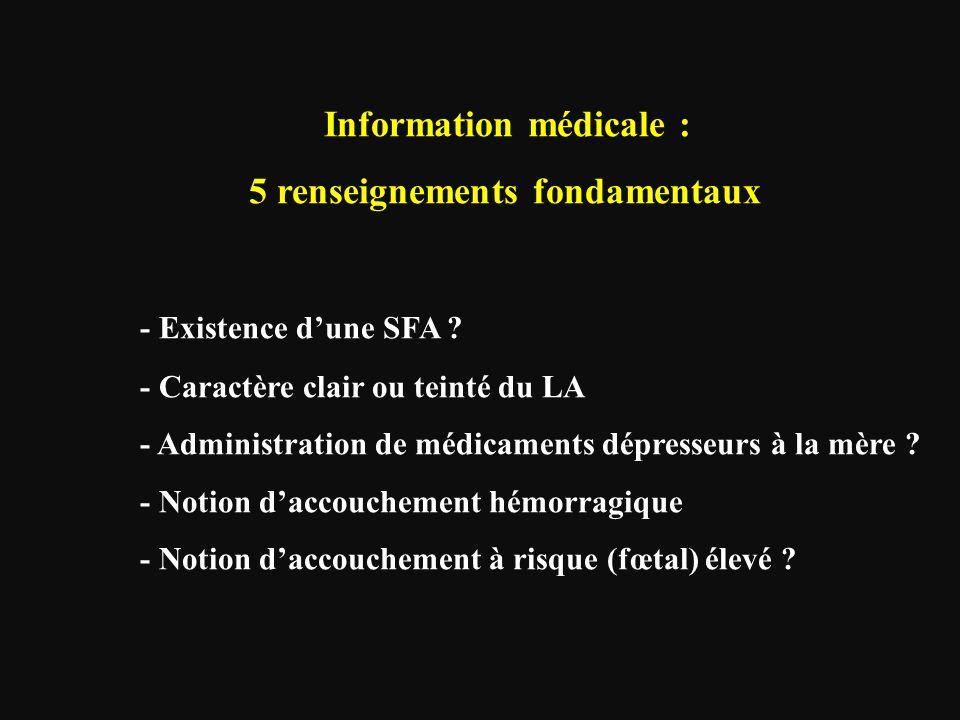 Information médicale : 5 renseignements fondamentaux - Existence d'une SFA ? - Caractère clair ou teinté du LA - Administration de médicaments dépress