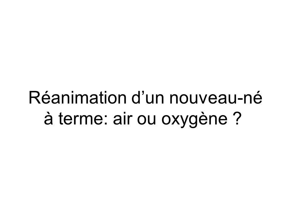 Réanimation d'un nouveau-né à terme: air ou oxygène ?