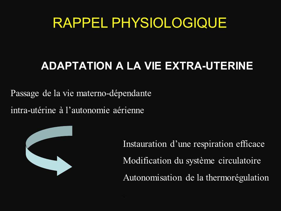 ADAPTATION A LA VIE EXTRA-UTERINE Passage de la vie materno-dépendante intra-utérine à l'autonomie aérienne Instauration d'une respiration efficace Mo