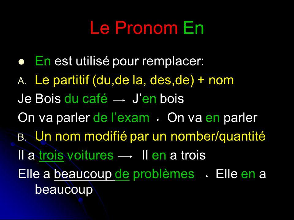 Le Pronom En En est utilisé pour remplacer: A. A.
