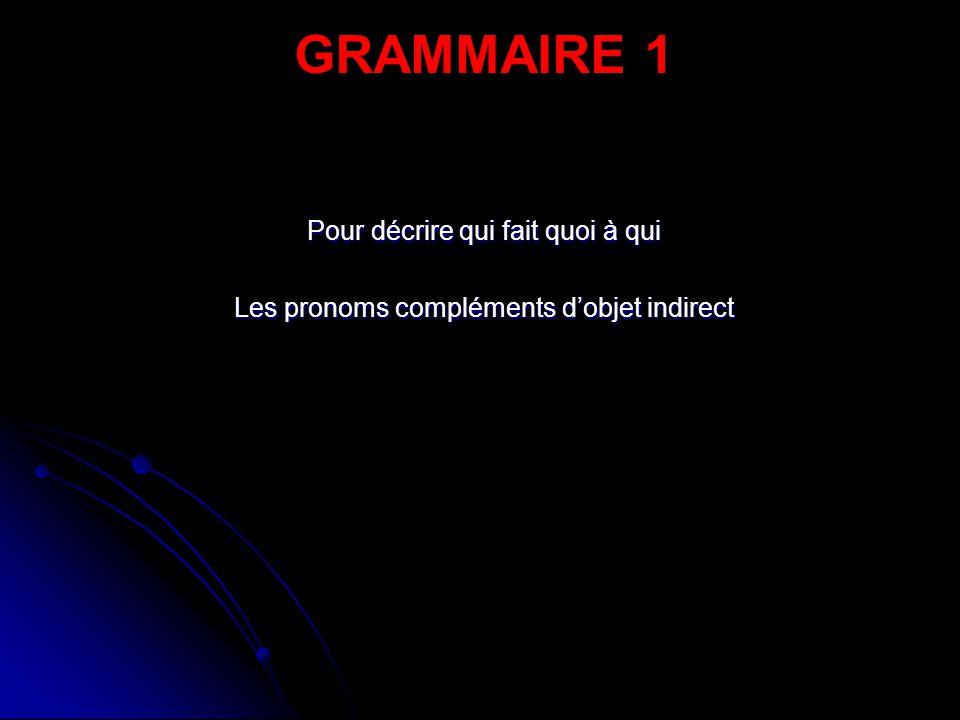 Pour décrire qui fait quoi à qui Les pronoms compléments d'objet indirect GRAMMAIRE 1