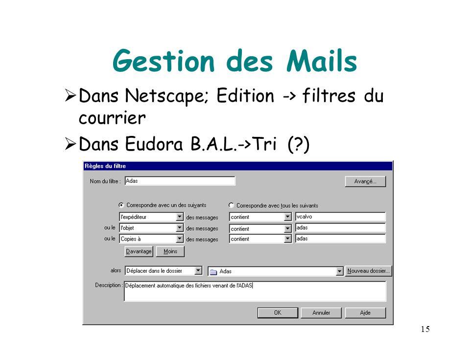 15 Gestion des Mails  Dans Netscape; Edition -> filtres du courrier  Dans Eudora B.A.L.->Tri (?)