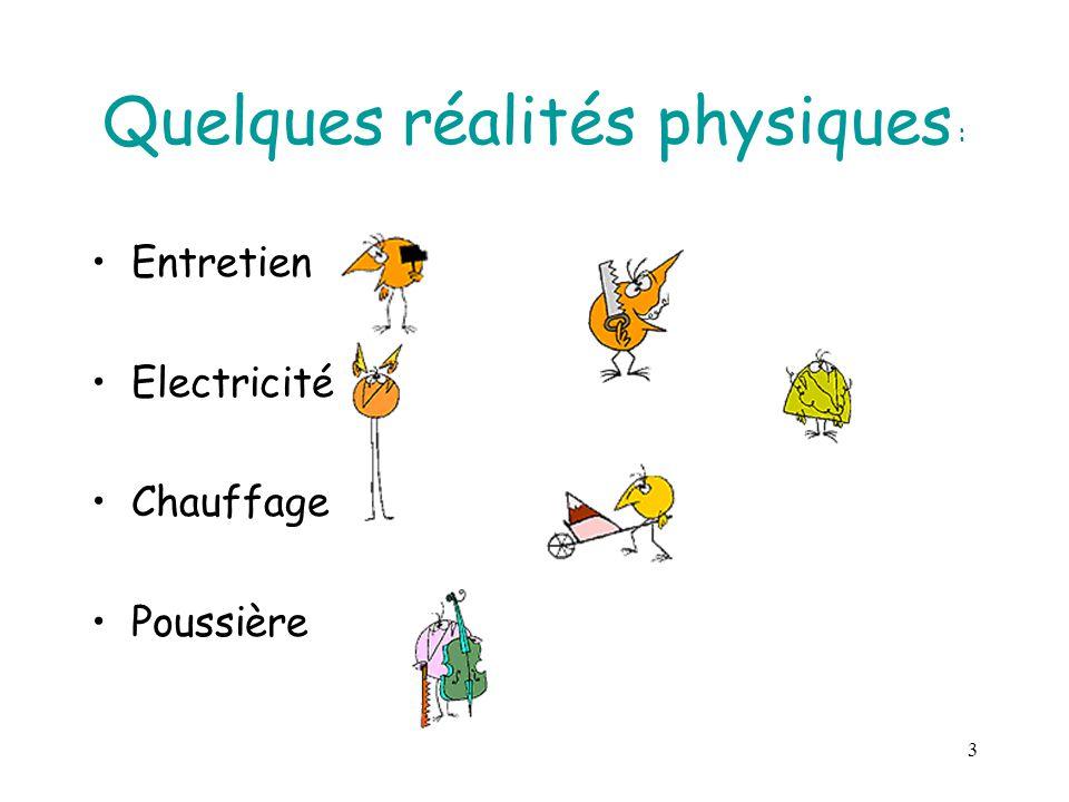 3 Quelques réalités physiques : Entretien Electricité Chauffage Poussière