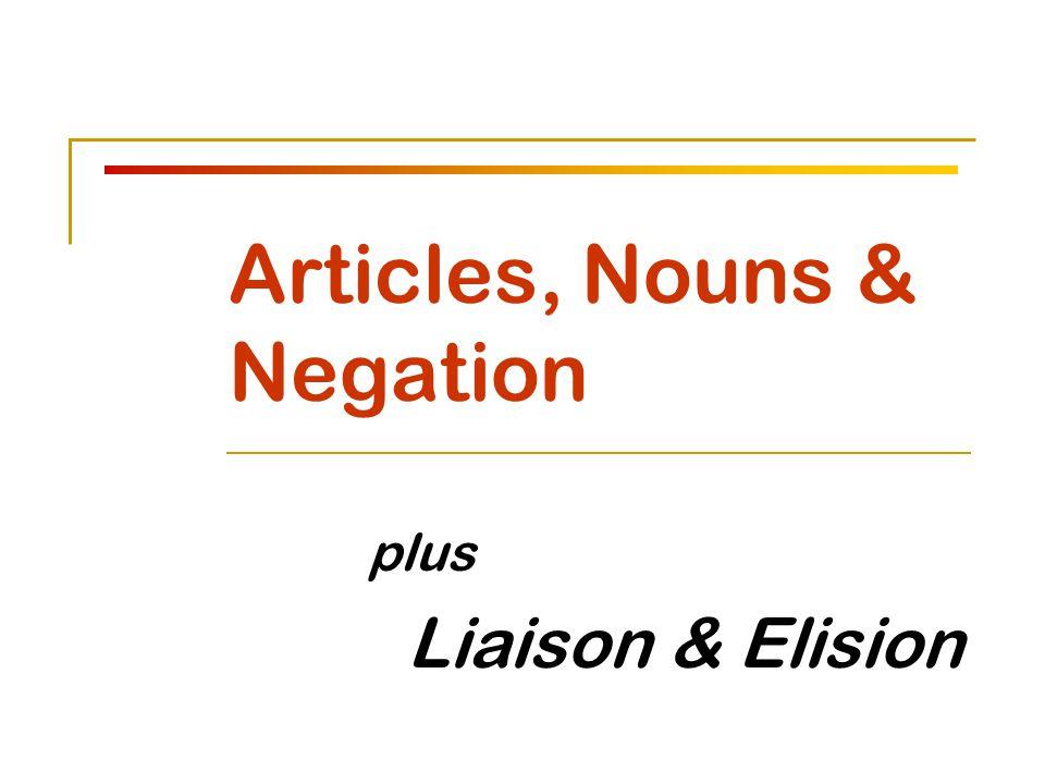 Articles, Nouns & Negation plus Liaison & Elision