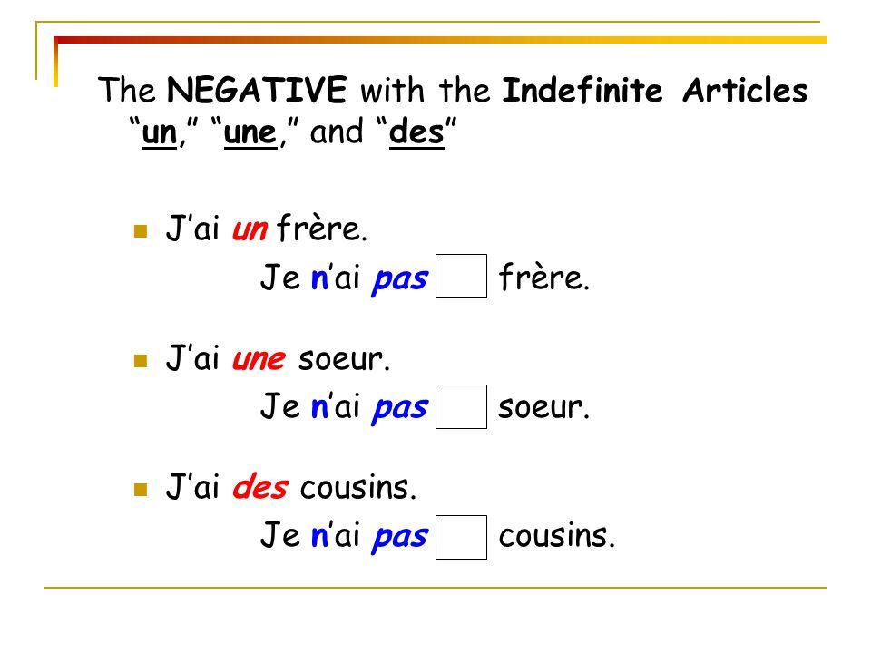 The NEGATIVE with the Indefinite Articles un, une, and des J'ai un frère.