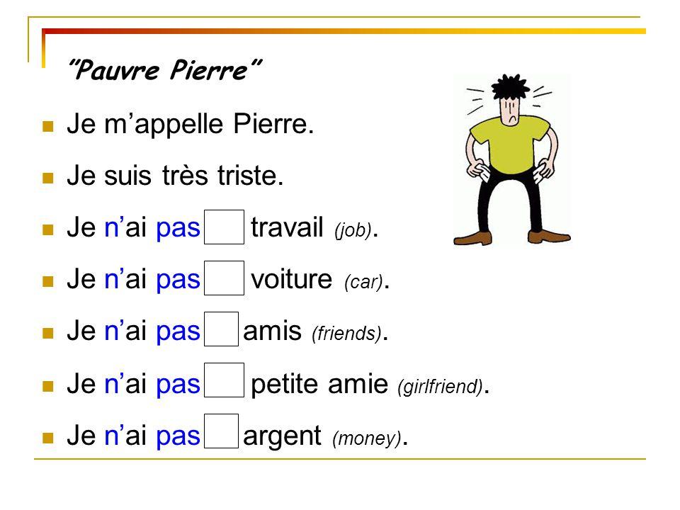 Pauvre Pierre Je m'appelle Pierre.Je suis très triste.