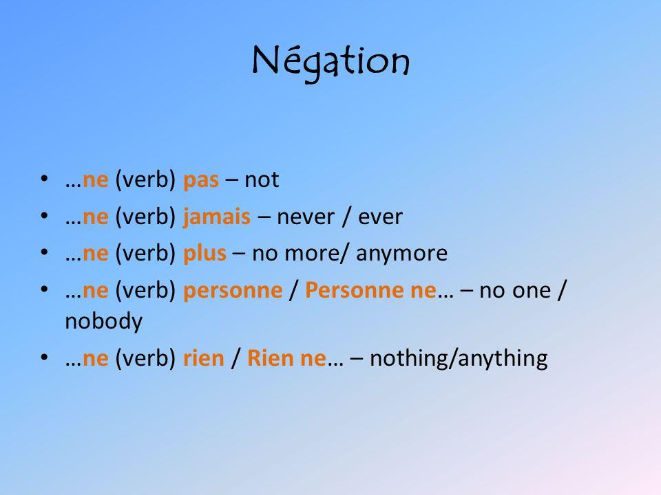 Placement Present – subject + ne + conjugated verb + pas – Ex: Il n'est pas gentil.