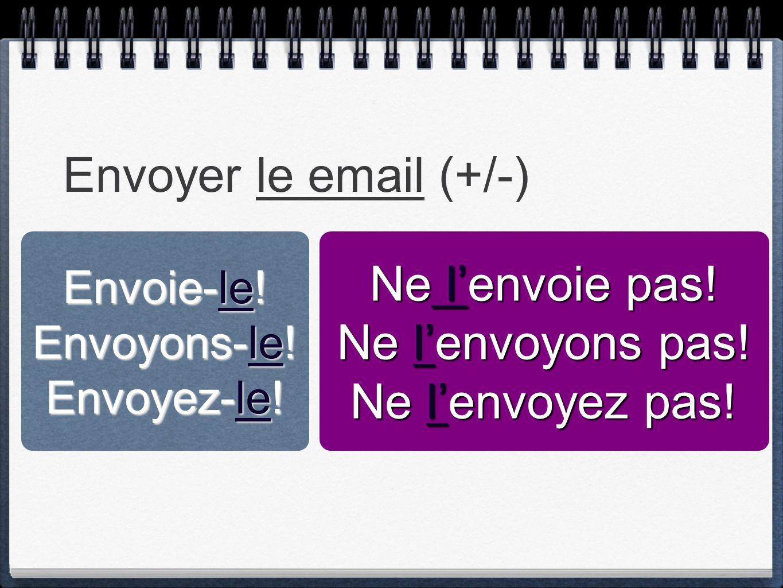 Envoyer le email (+/-) Envoie-le! Envoyons-le! Envoyez-le! Ne l'envoie pas! Ne l'envoyons pas! Ne l'envoyez pas!