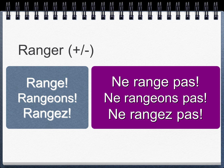 Ranger (+/-) Range!Rangeons!Rangez! Ne range pas! Ne rangeons pas! Ne rangez pas!