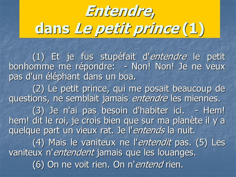 Entendre, dans Le petit prince (1) (1) Et je fus stupéfait d entendre le petit bonhomme me répondre: - Non.