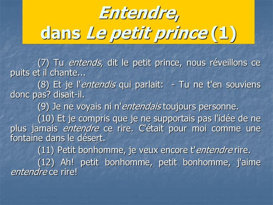 Entendre, dans Le petit prince (1) (7) Tu entends, dit le petit prince, nous réveillons ce puits et il chante...