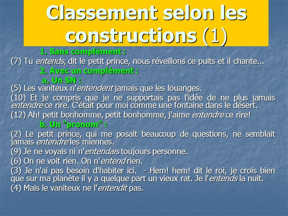 Classement selon les constructions (1) 1.