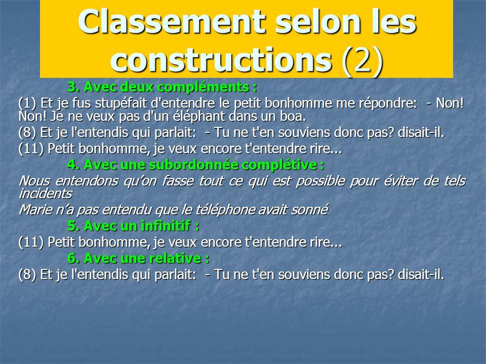 Classement selon les constructions (2) 3.