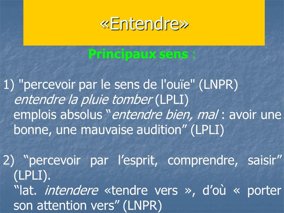 «Entendre» Principaux sens : 1) percevoir par le sens de l ouïe (LNPR) entendre la pluie tomber (LPLI) emplois absolus entendre bien, mal : avoir une bonne, une mauvaise audition (LPLI) 2) percevoir par l'esprit, comprendre, saisir (LPLI).