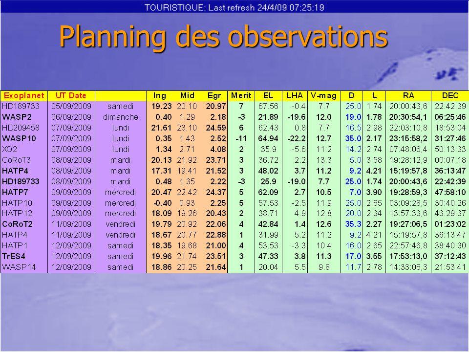 Planning des observations