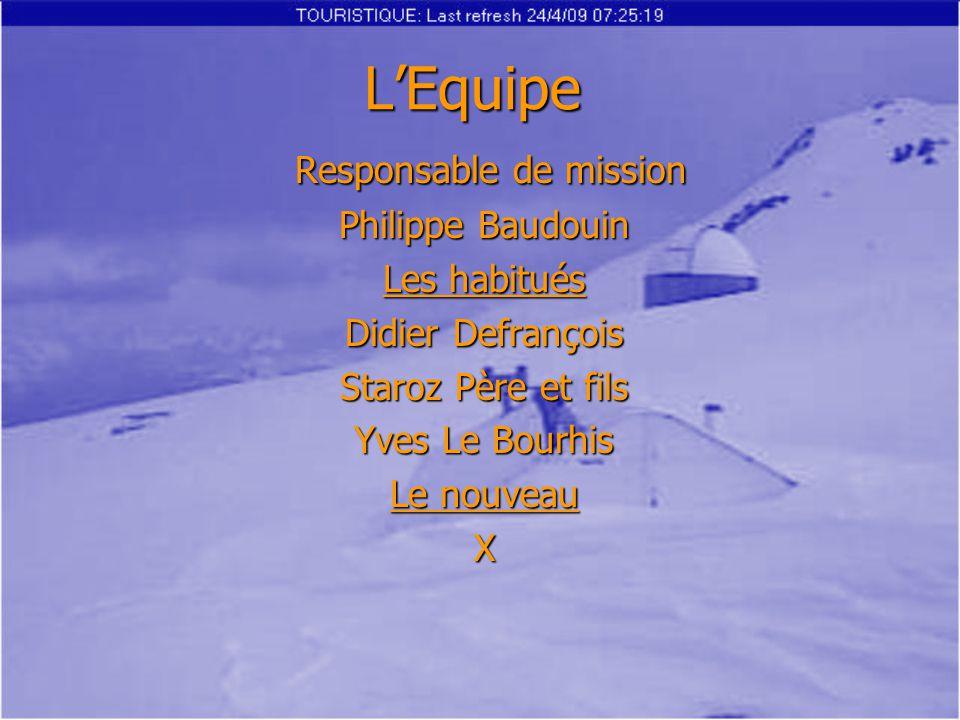 L'Equipe Responsable de mission Responsable de mission Philippe Baudouin Les habitués Didier Defrançois Staroz Père et fils Yves Le Bourhis Le nouveau X Août 2007 Semainedlmmjvs 293031 1234 567891011 12131415161718 19202122232425 262728293031 1