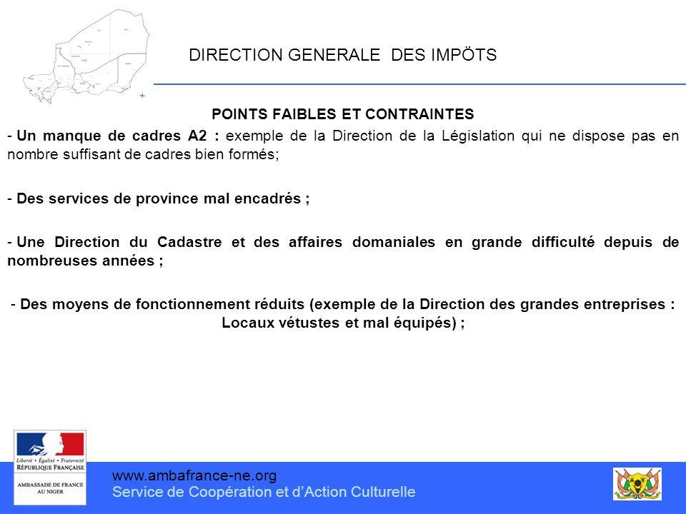 www.ambafrance-ne.org Service de Coopération et d'Action Culturelle DIRECTION GENERALE DES IMPÖTS POINTS FAIBLES ET CONTRAINTES - Un manque de cadres