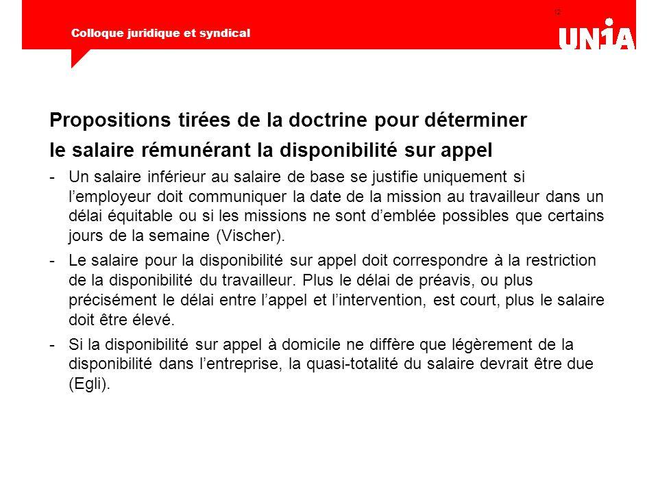 12 Colloque juridique et syndical Propositions tirées de la doctrine pour déterminer le salaire rémunérant la disponibilité sur appel -Un salaire infé